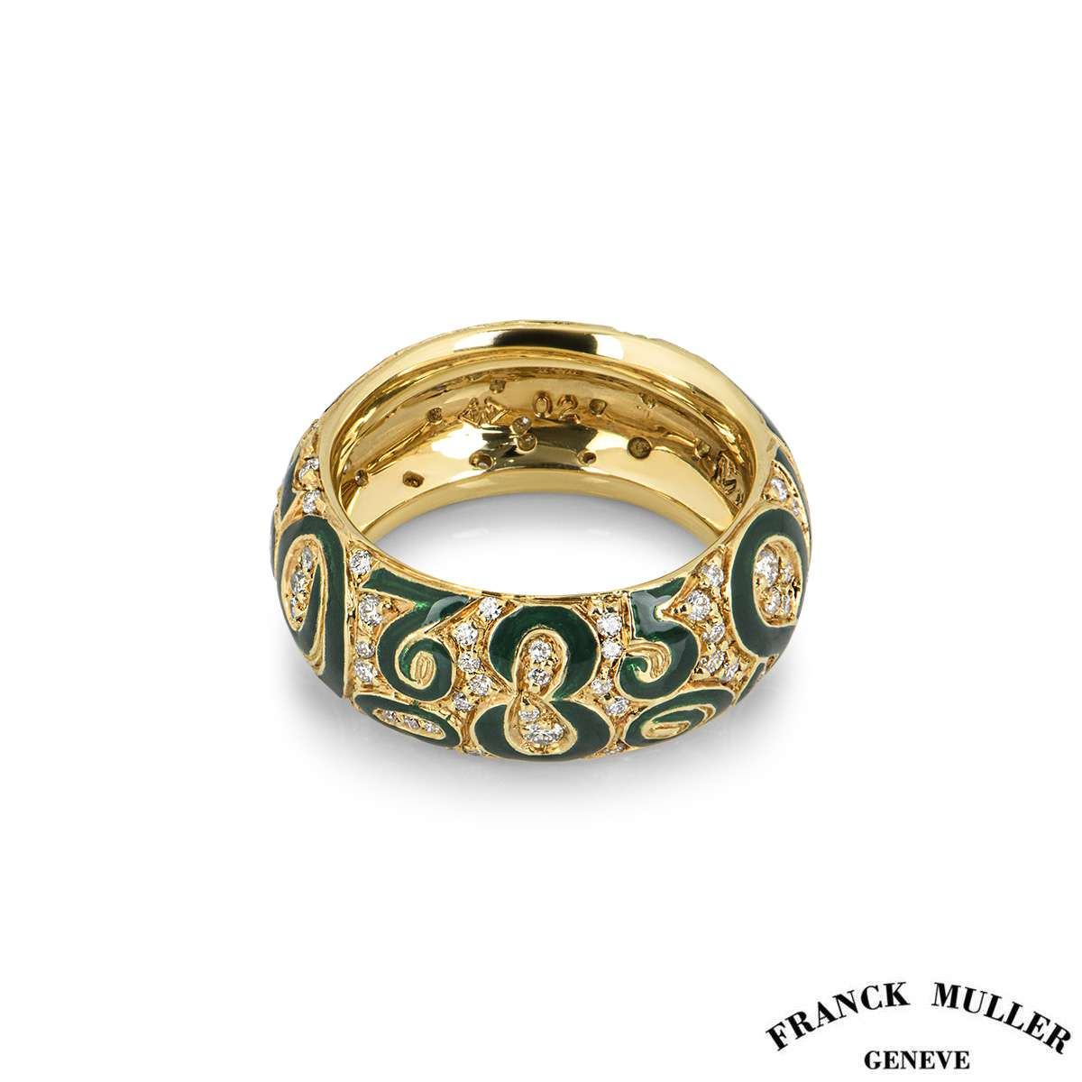 Franck Muller Yellow Gold Crazy Hours Diamond and Enamel Ring